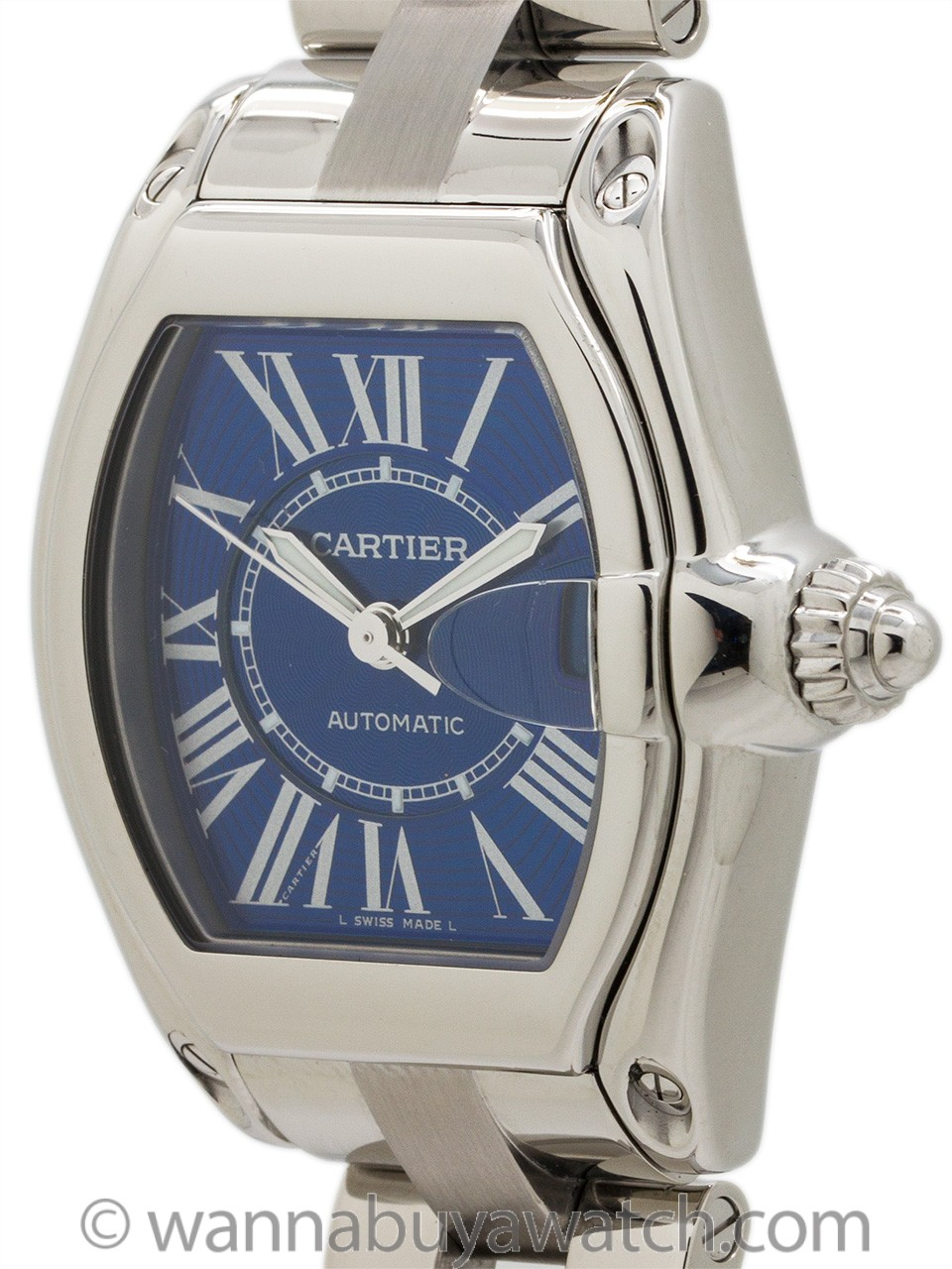 """Cartier Man's Roadster Stainless Steel """"Electric Blue"""" circa 2015"""