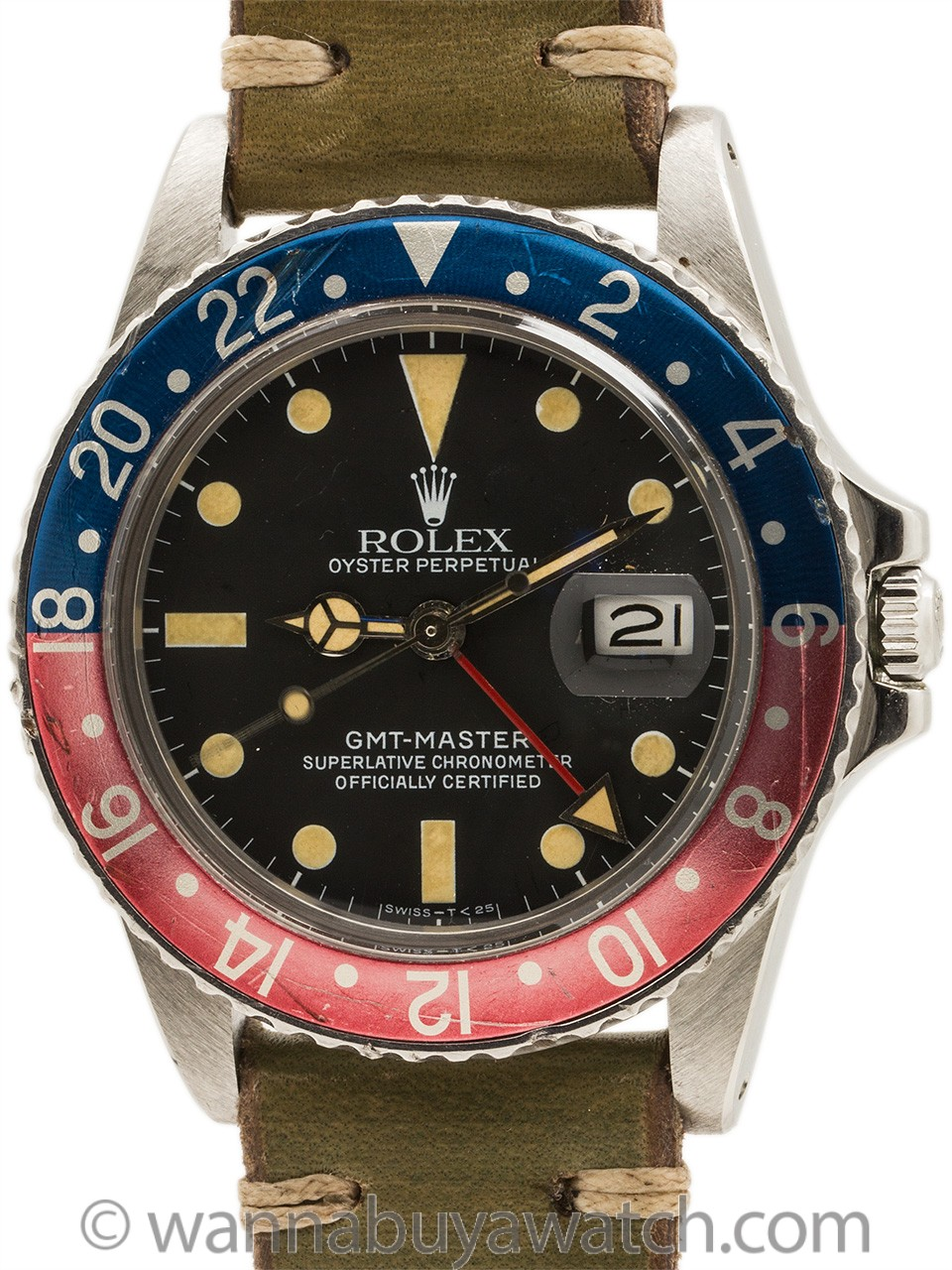 Rolex GMT ref 16750 Stainless Steel Transitional circa 1982