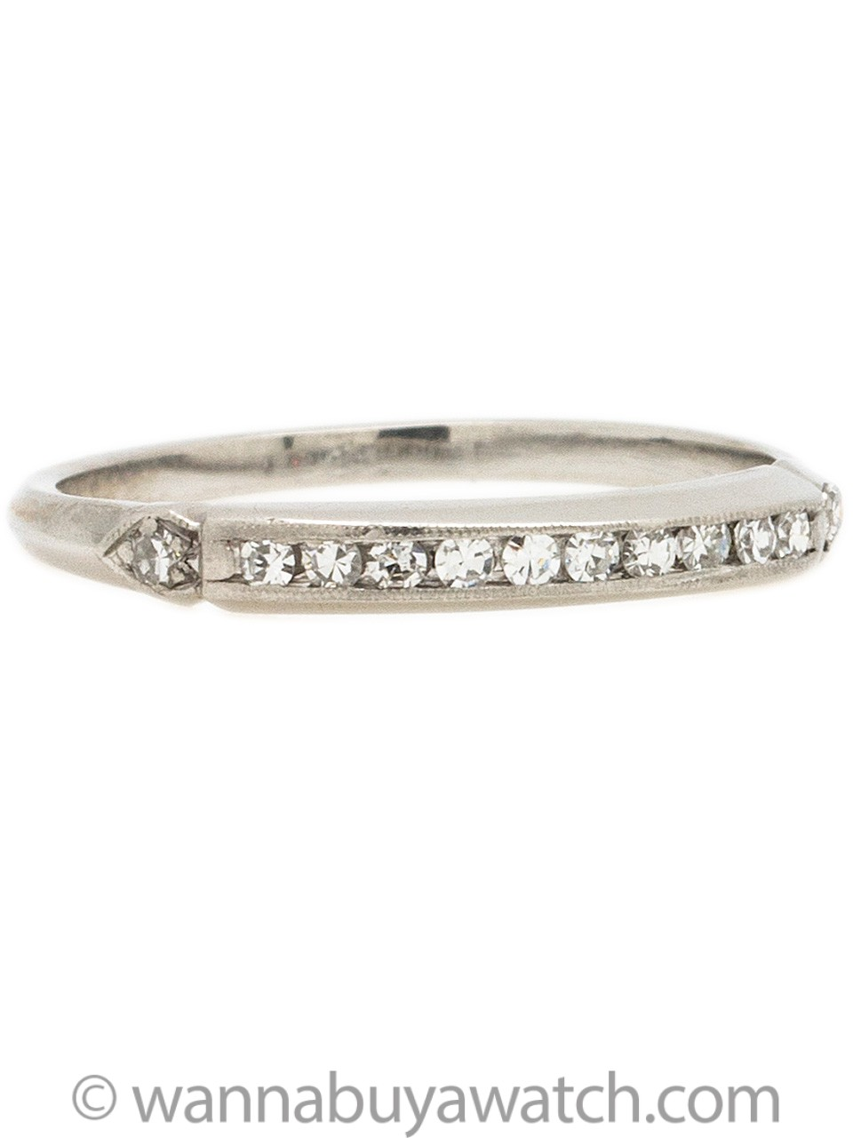 Antique Platinum Diamond Wedding Band circa 1930s