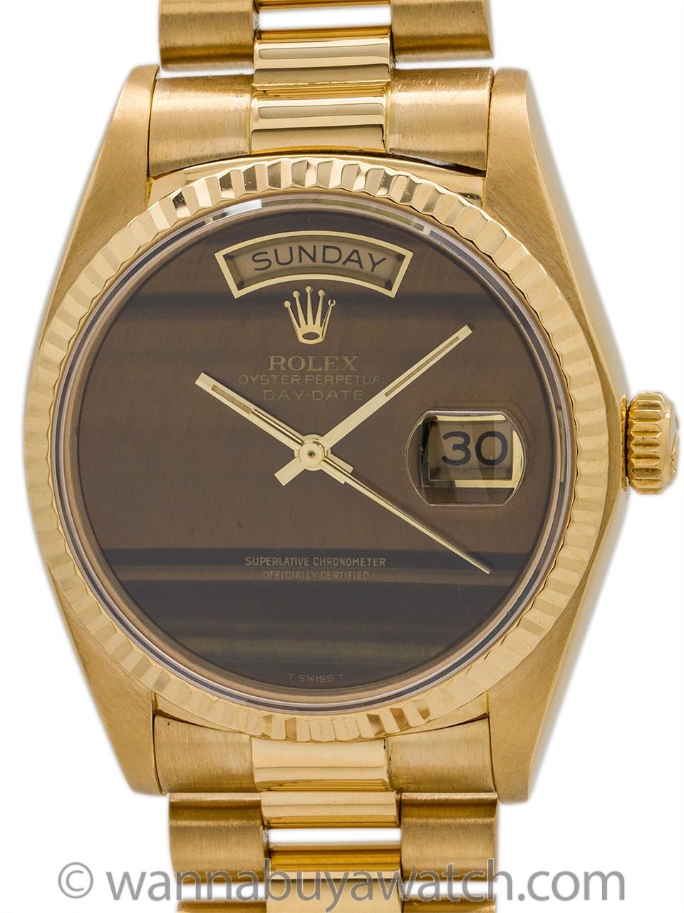 Rolex Day Date President 18K YG ref 18038 Tiger's Eye circa 1981