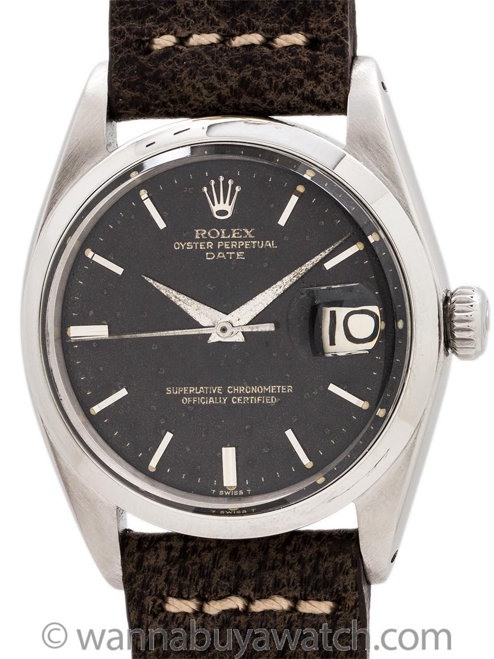 Rolex Oyster Perpetual Date ref 1500 Black Gilt Dial circa 1964