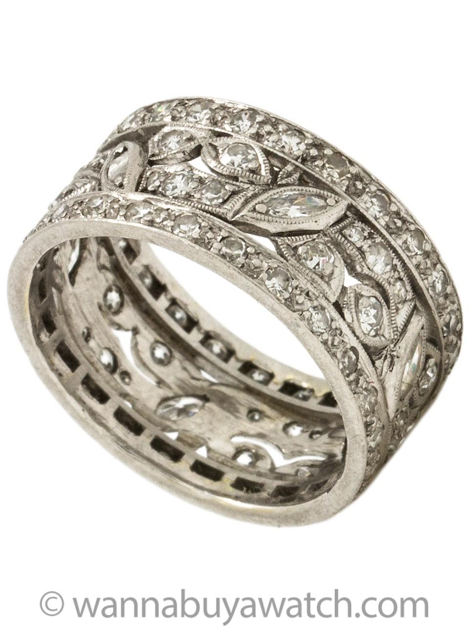 Wide Platinum Diamond Wedding Band 1.20ct