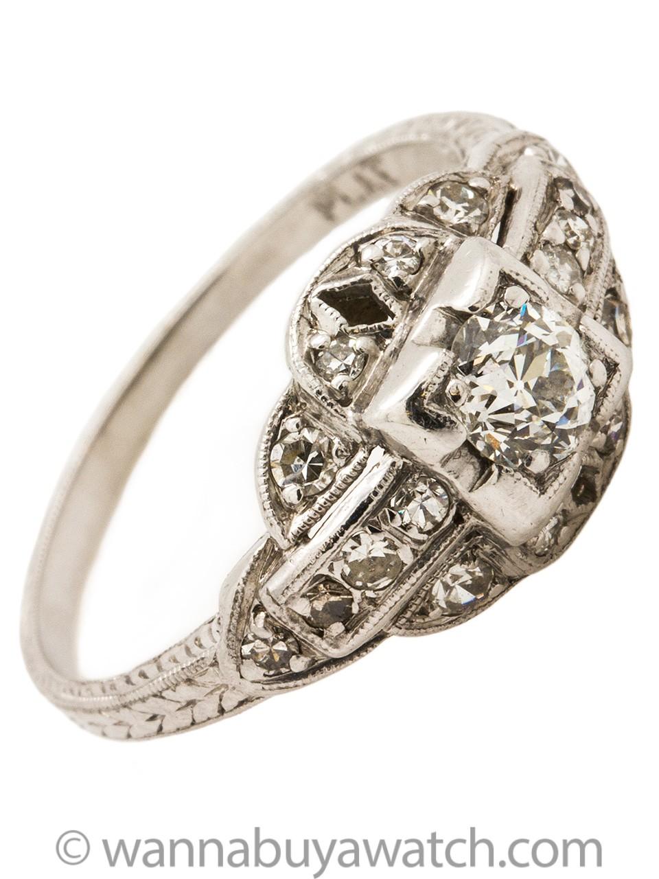 Vintage Platinum Diamond Engagement Ring .35ct Old European Cut H/VS2 circa 1930's