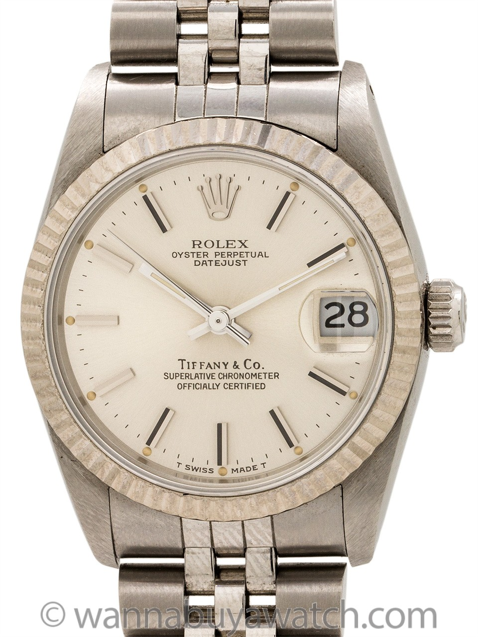 Rolex Midsize Datejust Tiffany & Co ref 68274 circa 1988 Box & Papers+
