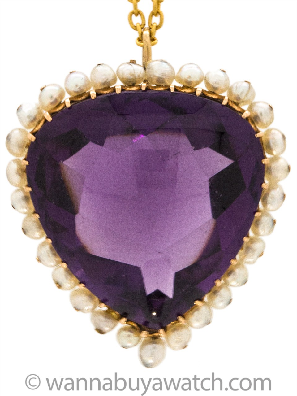 Spectacular Amethyst, Pearl and Gold Pendant