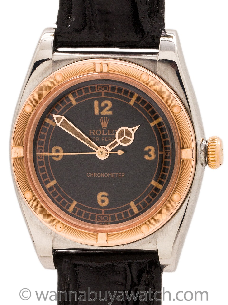 Rolex Bubbleback Steel & Rose Gold circa 1946