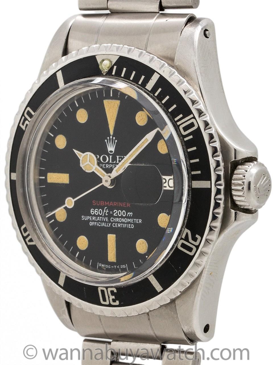 """Rolex ref 1680 """"Red"""" Submariner Stainless Steel circa 1973"""