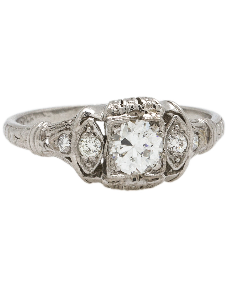 Vintage Art Deco Platinum Engagement Ring 0.36ct OEC G-SI1 circa 1930s