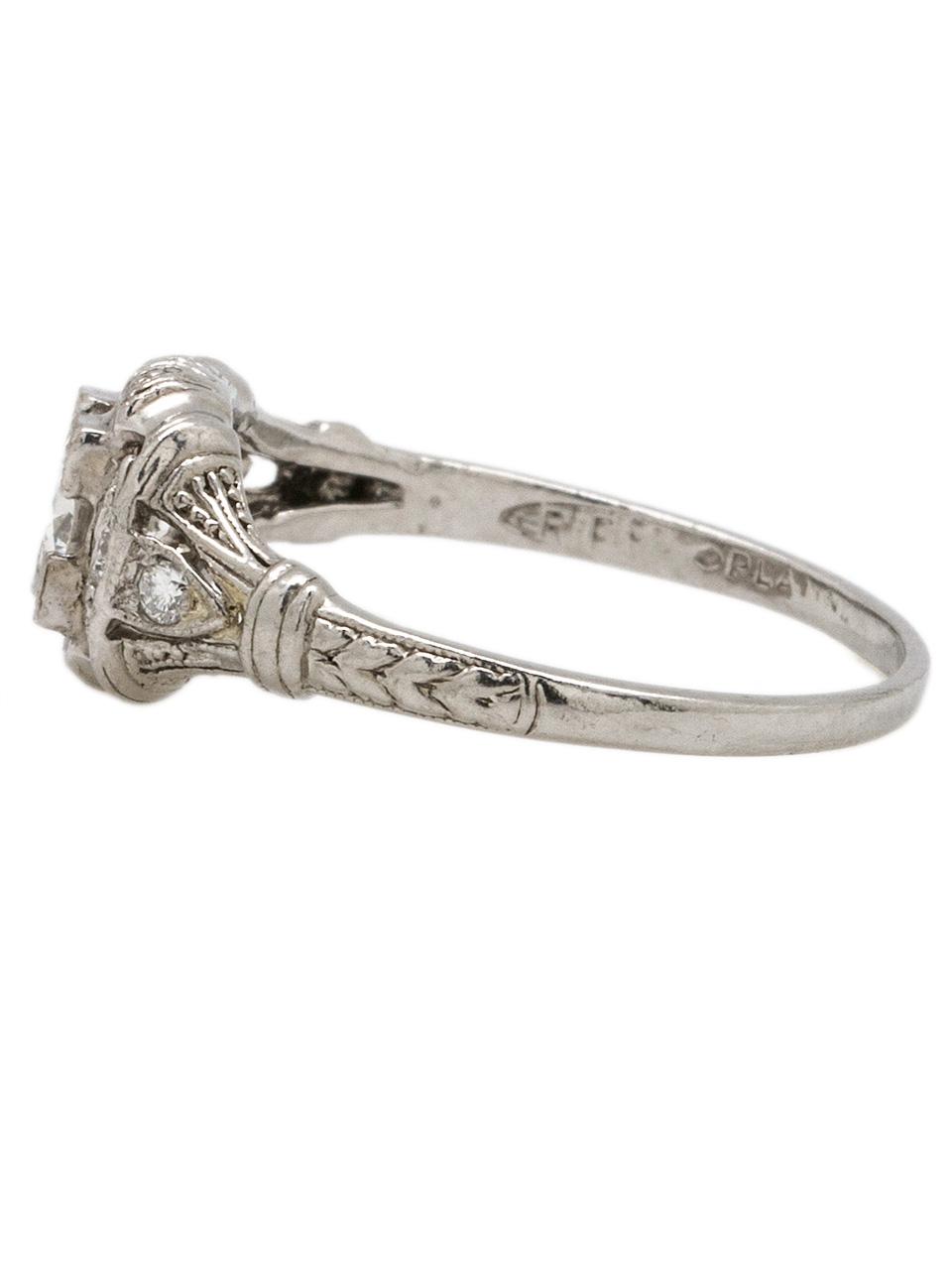 Vintage Art Deco Platinum Engagement Ring 0.36ct OEC G-SI1 circa 1930s