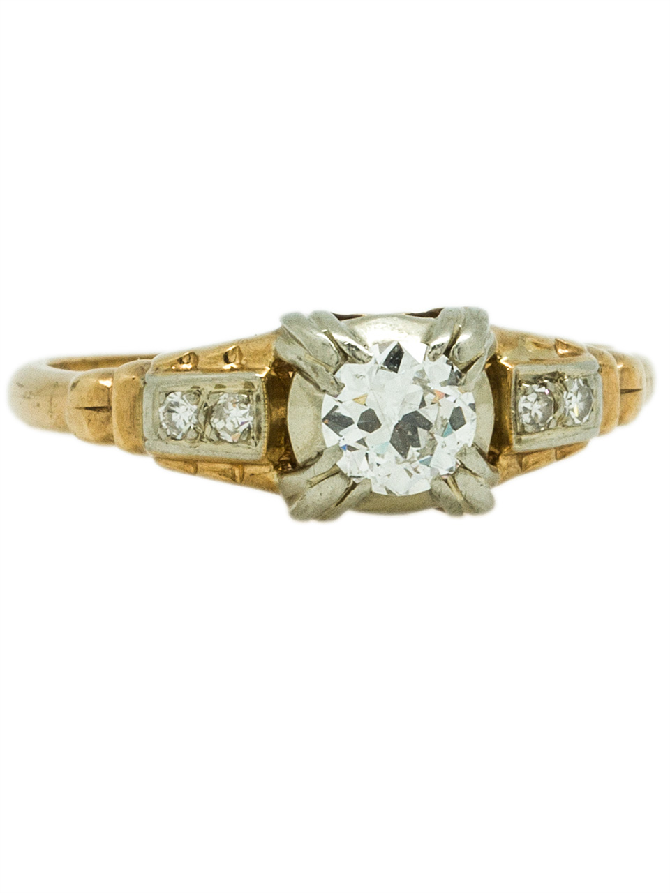 14K Retro Diamond Engagement Ring, circa 1940s
