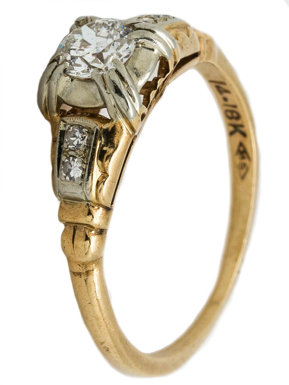 14K Retro Diamond Engagement Ring, circa 1940s