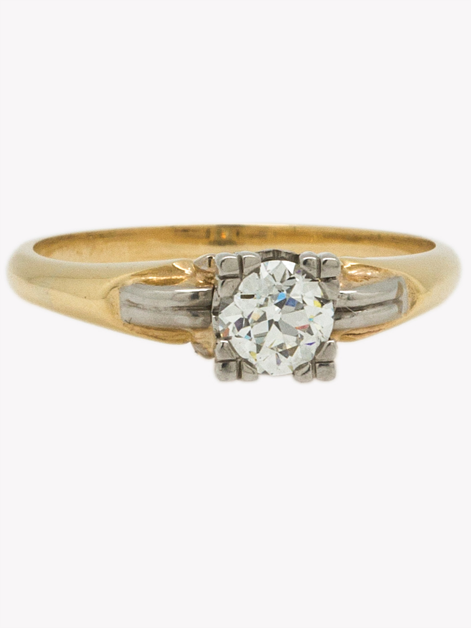 Vintage Solitaire Engagement Ring 14KY 0.43ct Old European Cut H-VS2 circa 1930s