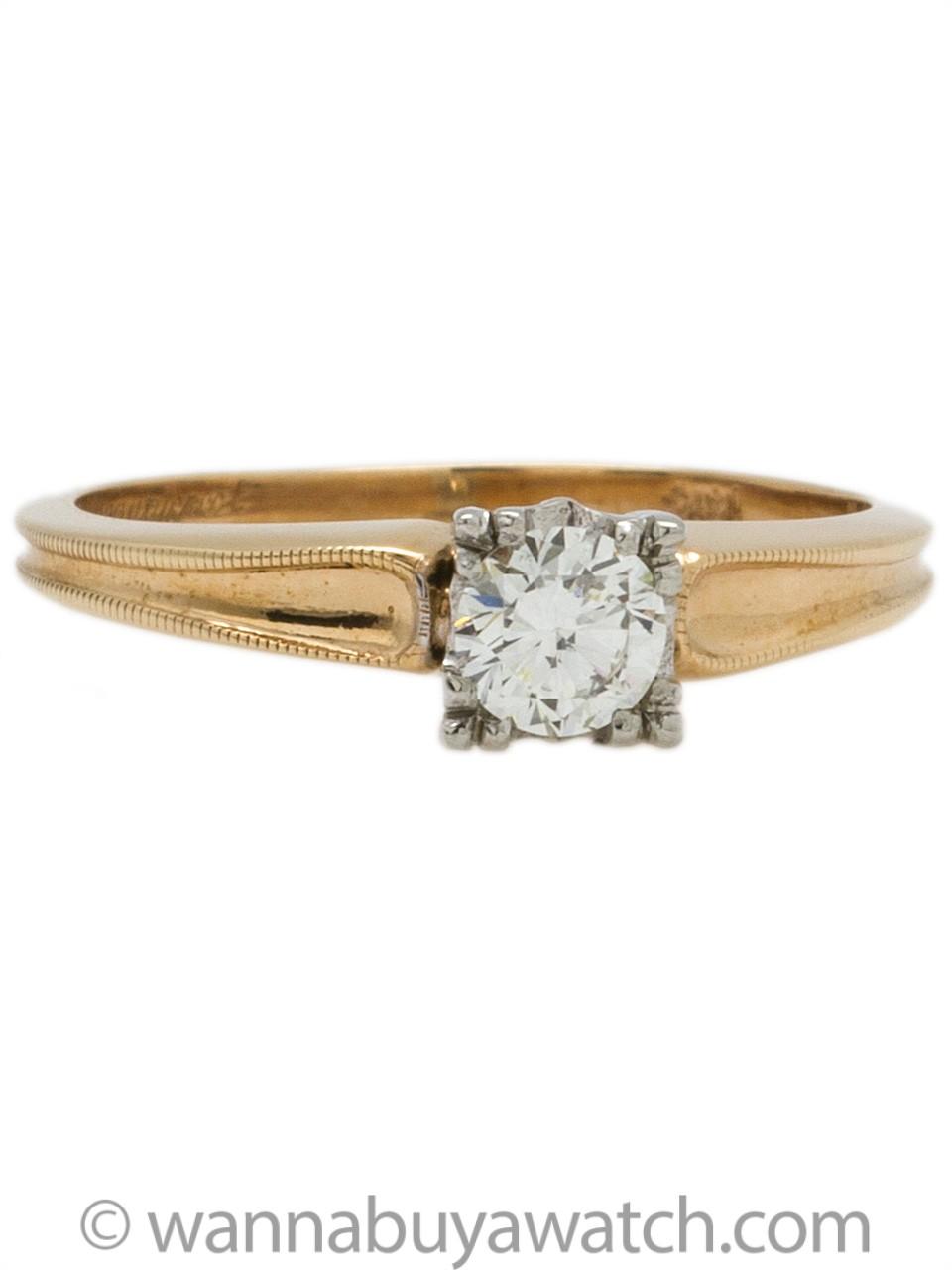 Classic 14K Diamond Solitaire Engagement Ring 0.36ct J-VS1 circa 1950s