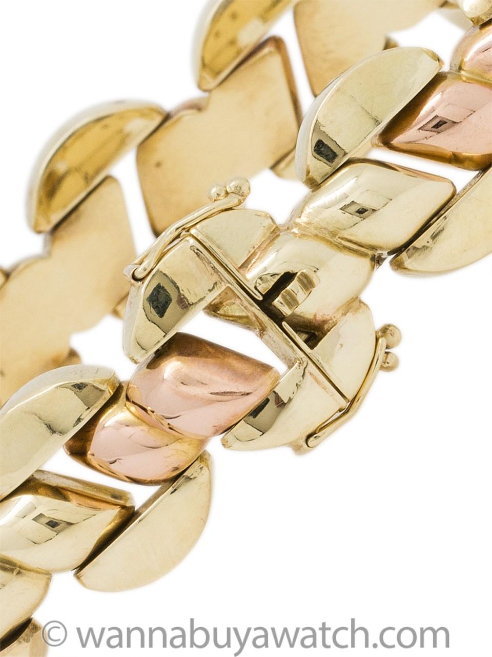 Retro Bracelet 14K Yellow & Rose Gold circa 1940's