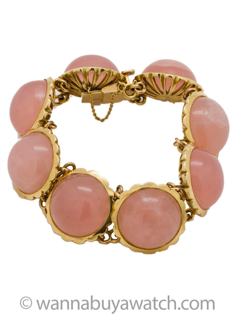 Rose Quartz & 14K YG Bracelet circa 1970's
