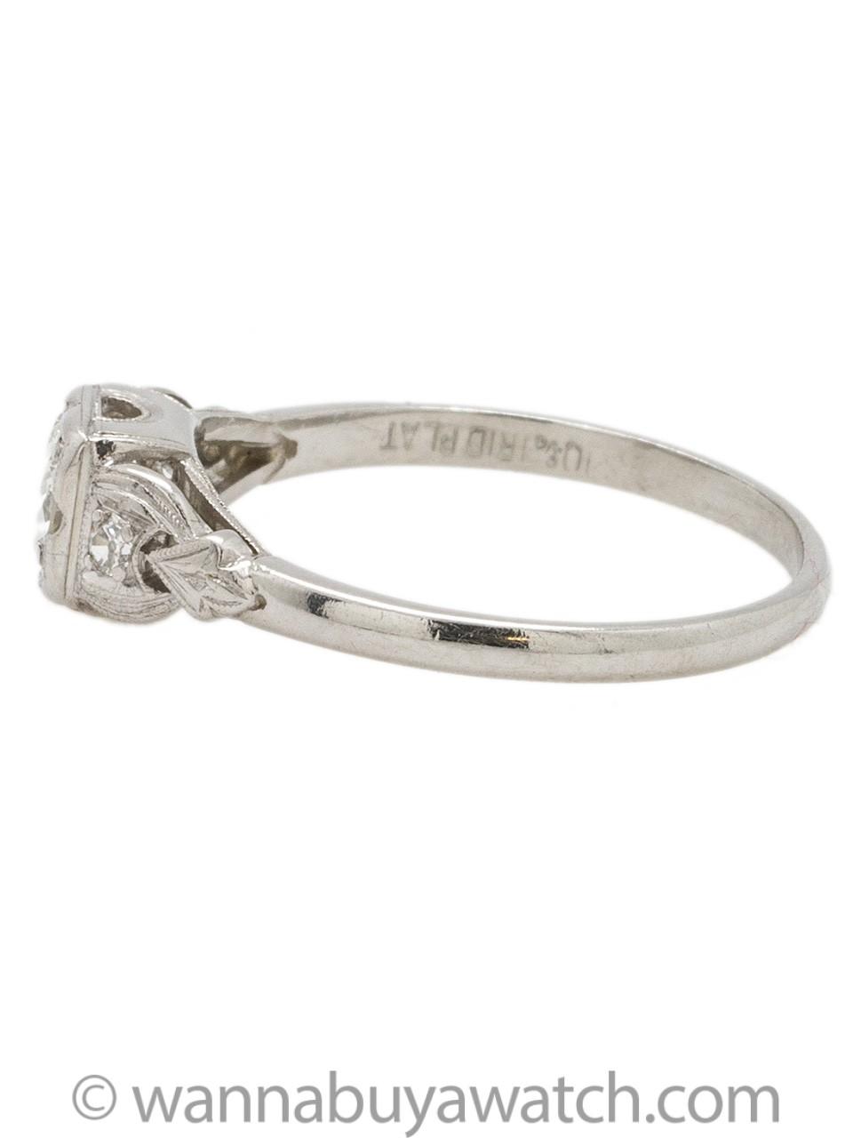 Vintage Platinum Engagement Ring 0.38ct Round Brilliant H-SI1 circa 1930s