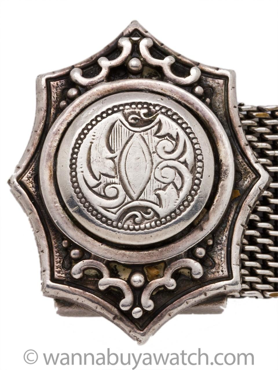 Antique Victorian Fox Tail Fringed Tassel Silver Plate Mesh Bracelet c.1900