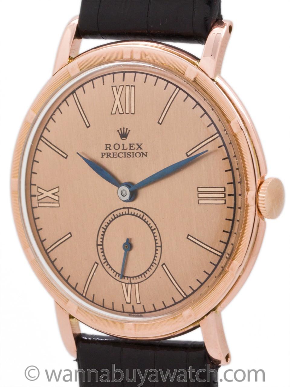 Rolex Dress Model ref 4325 Rose Gold Bezel circa 1940's