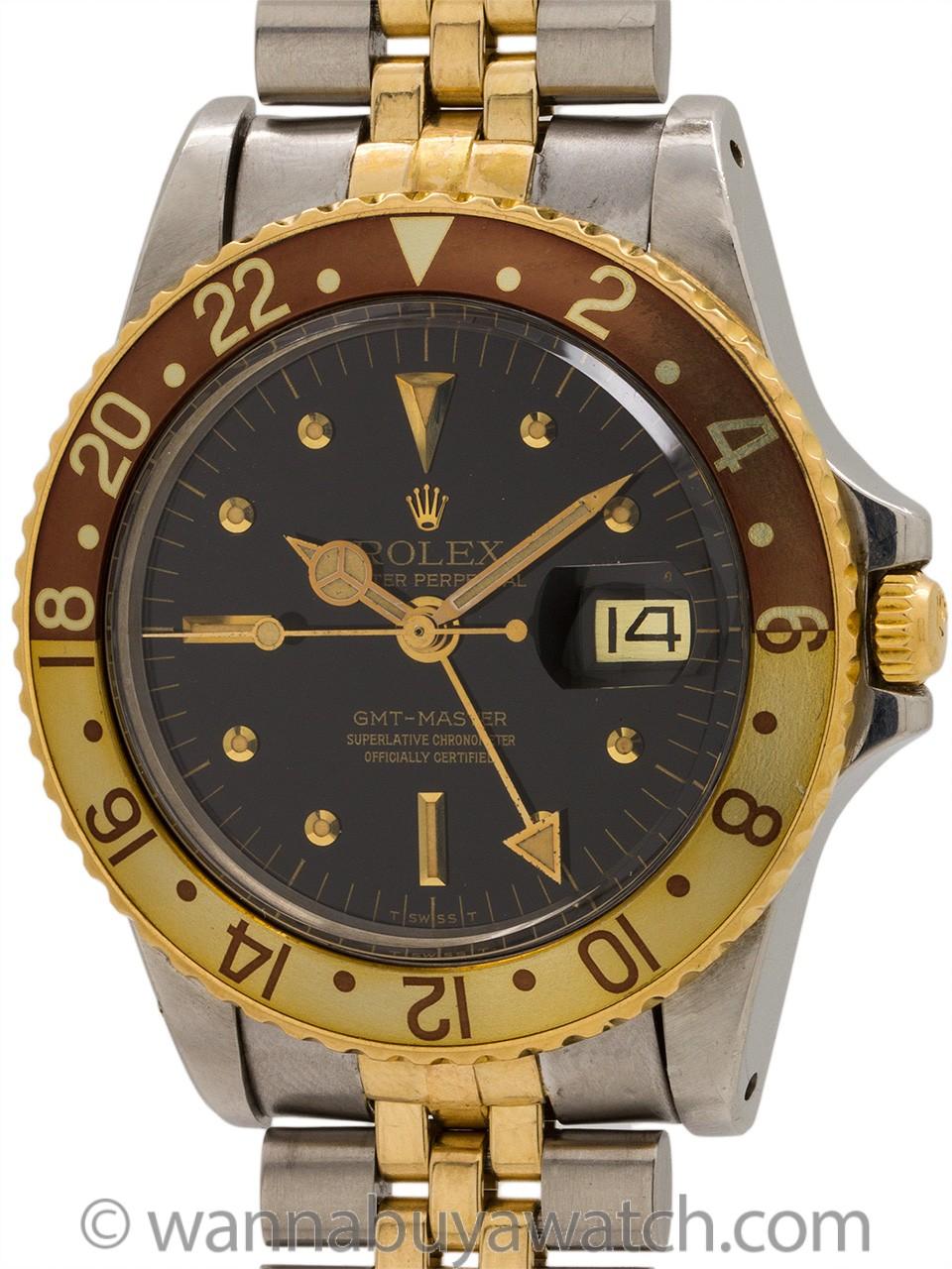 """Rolex GMT ref 1675 SS & 14K """"Dark Chocolate"""" circa 1978"""