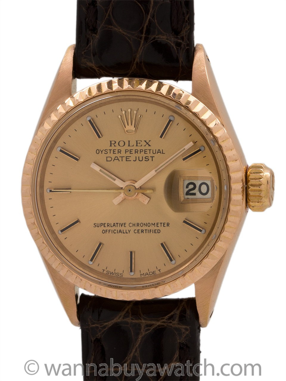 Lady's Rolex 18K Rose Gold Datejust ref 6917 circa 1987
