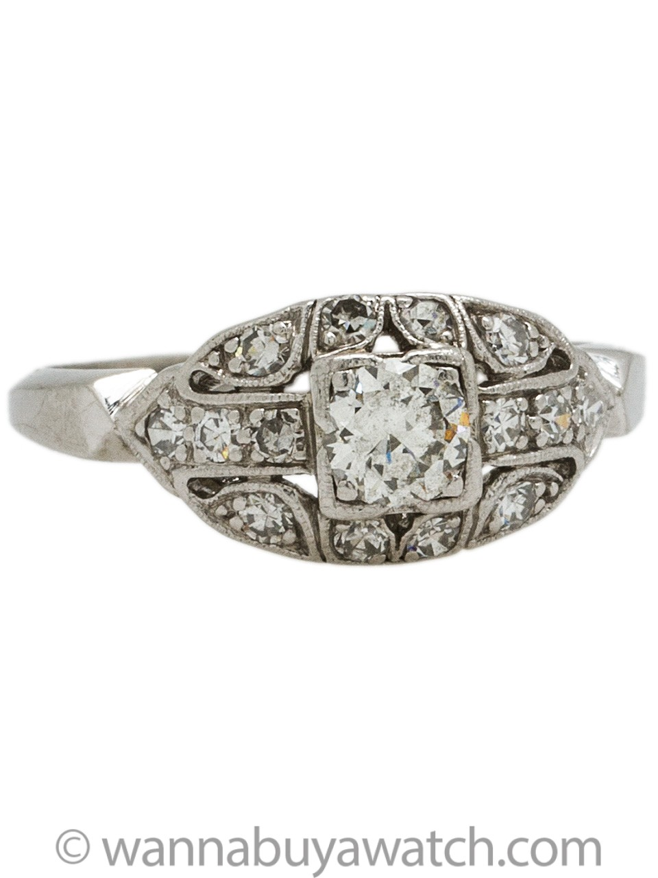 Vintage Art Deco Platinum Engagement Ring 0.50ct Round Brilliant I-SI2 circa 1930s
