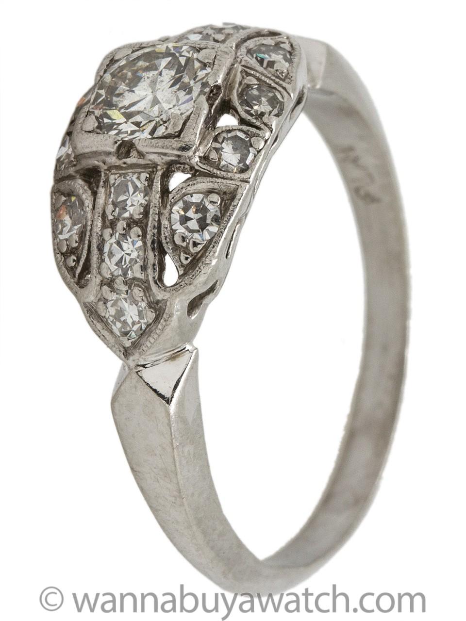 Vintage Art Deco Platinum Engagement Ring 0.50ct Round Brilliant I-SI2 circa 1930s