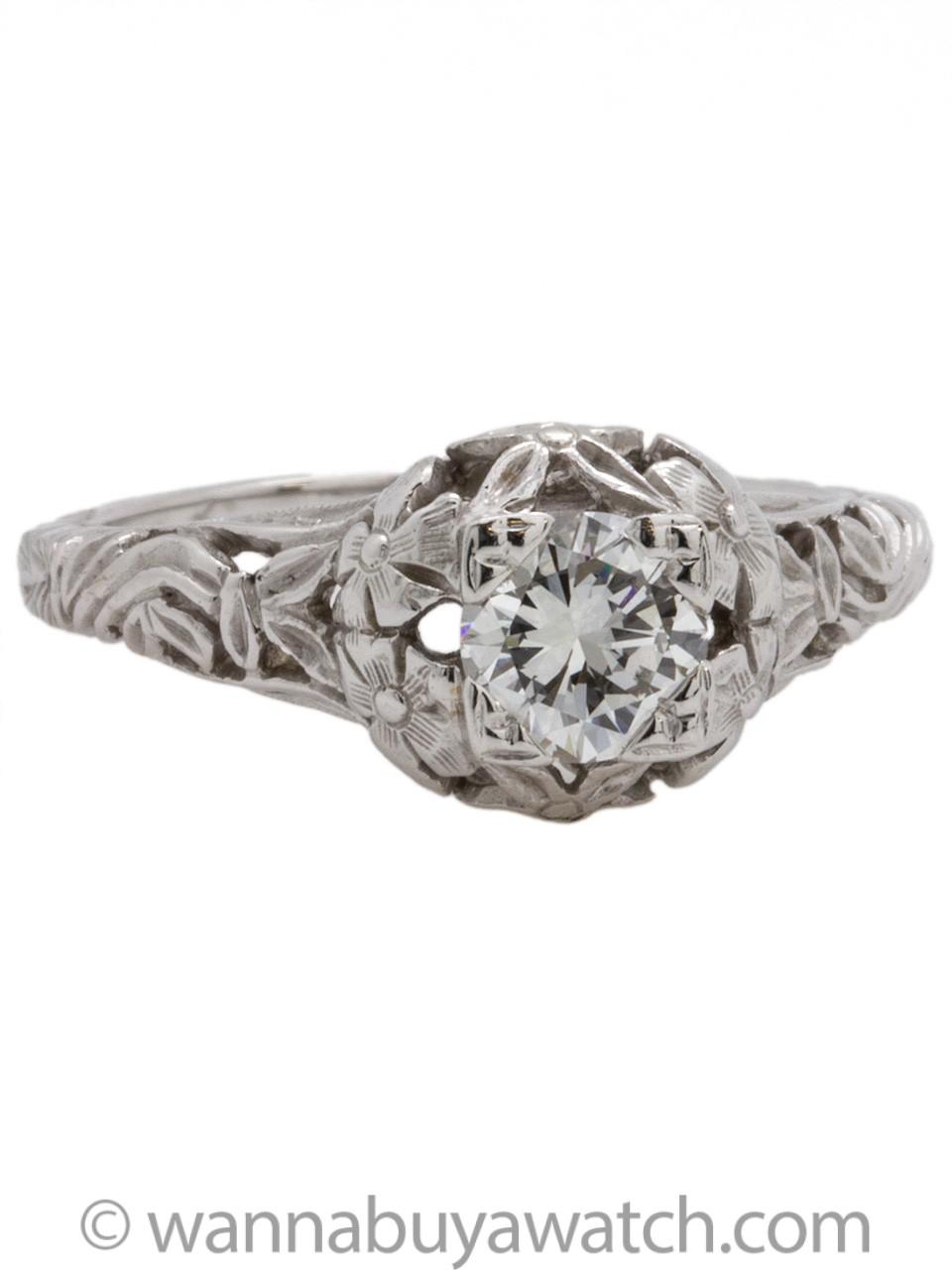 Vintage Style 14K WG Engagement Ring 0.53ct Modern Brilliant Cut  E-VS2