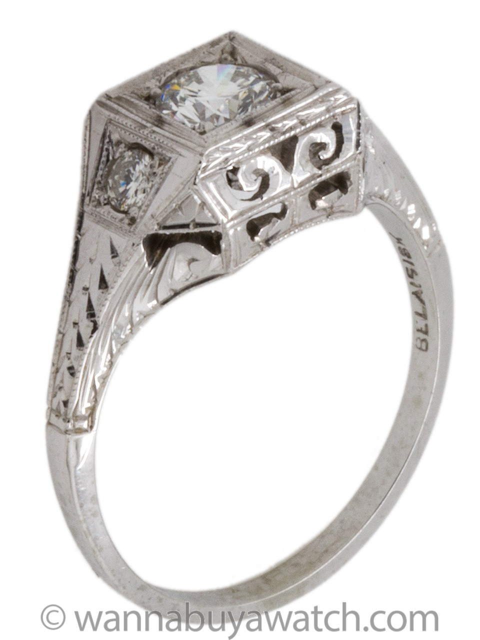 Vintage Belais Engagement Ring 18K White Gold 0.37ct H-VS2 circa 1930s