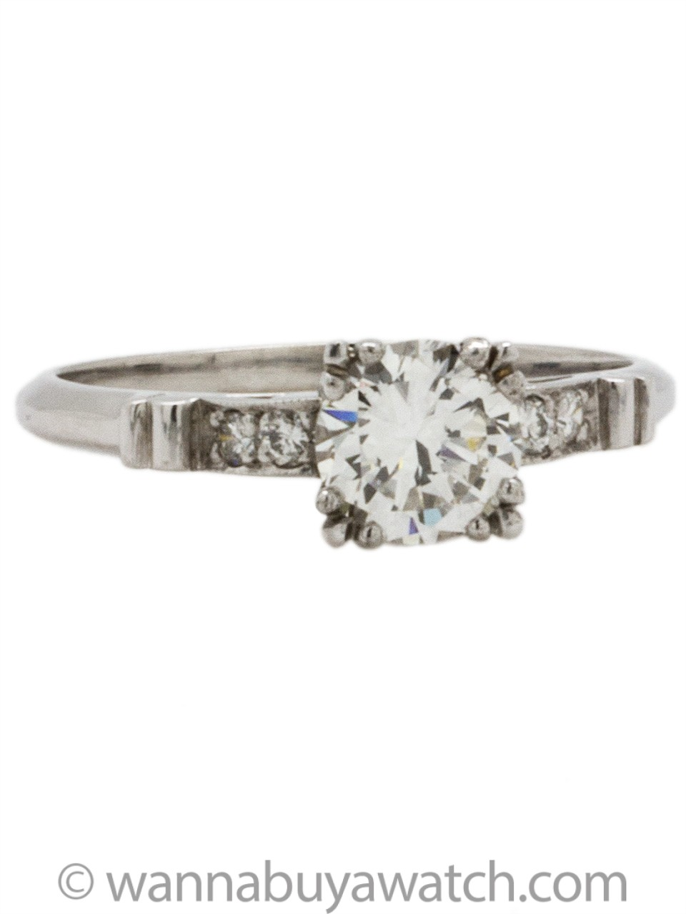 Vintage Platinum Engagement Ring 0.89ct Round Brilliant F/VS2 circa 1950s