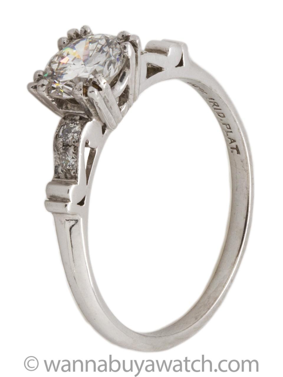 Vintage Platinum Engagement Ring 0.89ct Round Brilliant F/VS2 circa 1950s
