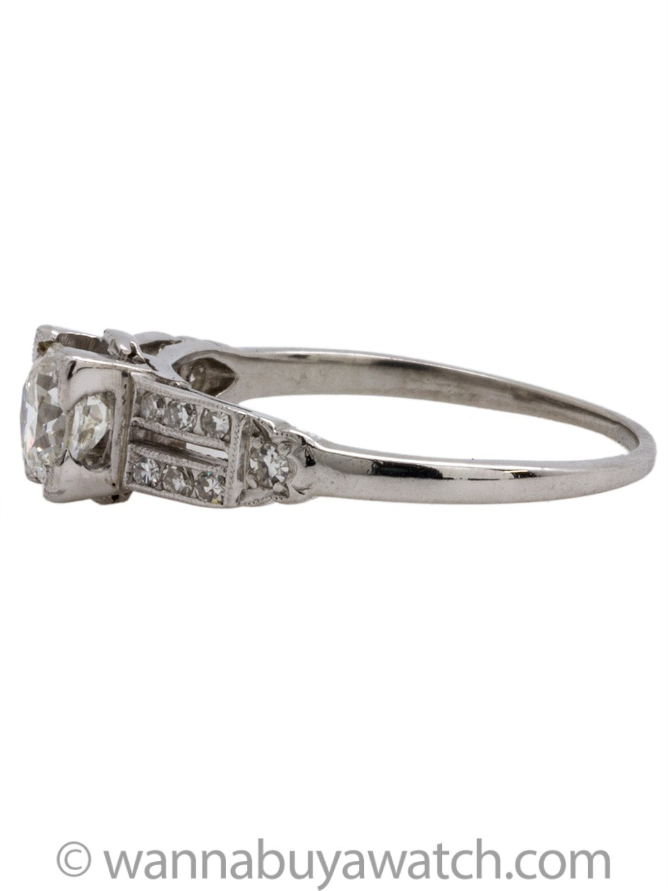 Vintage Art Deco Platinum Engagement Ring .68 Carat G-VS1, circa 1930s