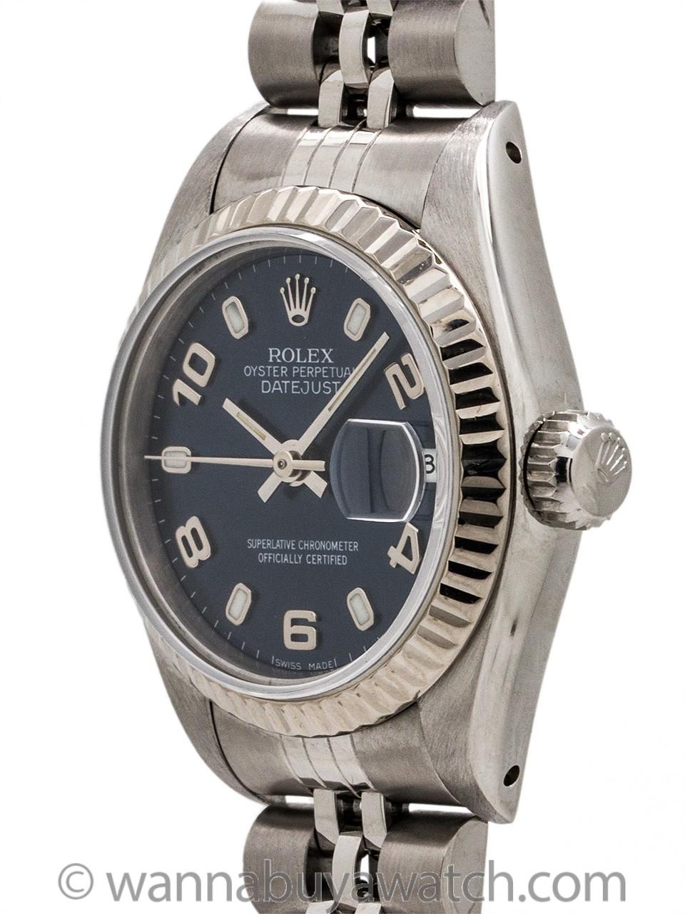 Lady Rolex Datejust ref 69174 Blue Arabic Dial circa 1993