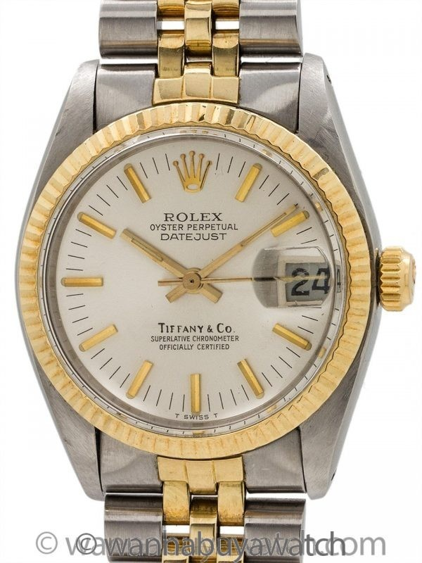 Rolex Midsize Datejust Tiffany & Co SS/18K YG ref 6827 circa 1979
