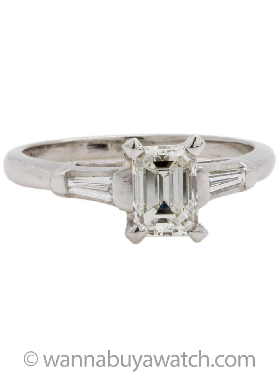 Vintage Platinum Engagement Ring 0.79ct I-VVS2 Emerald Cut Diamond circa 1950s
