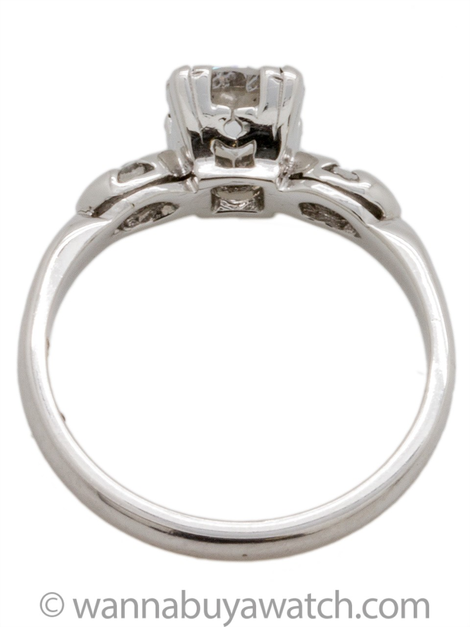 Vintage Platinum Engagement Ring 0.79ct Round Brilliant F-SI2 circa 1940s
