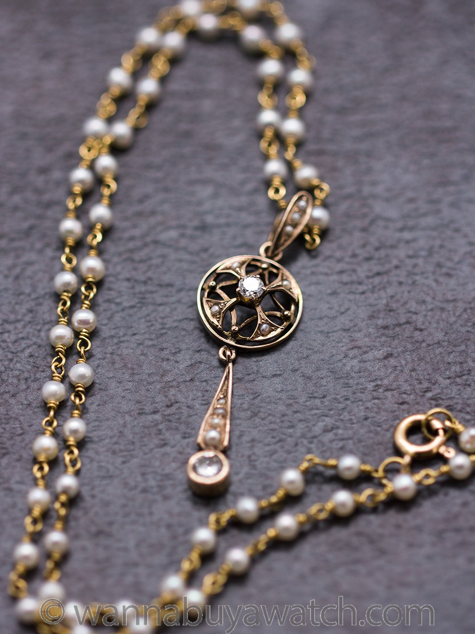18K Yellow Gold Necklace with Seed Pearls & Diamonds