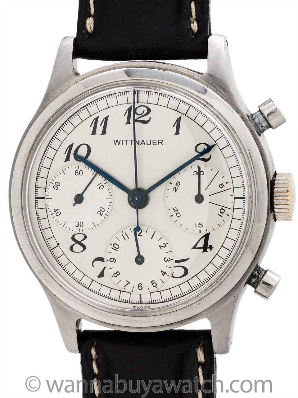 Wittnauer 3 Registers Chronograph Stainless Steel circa 1950's