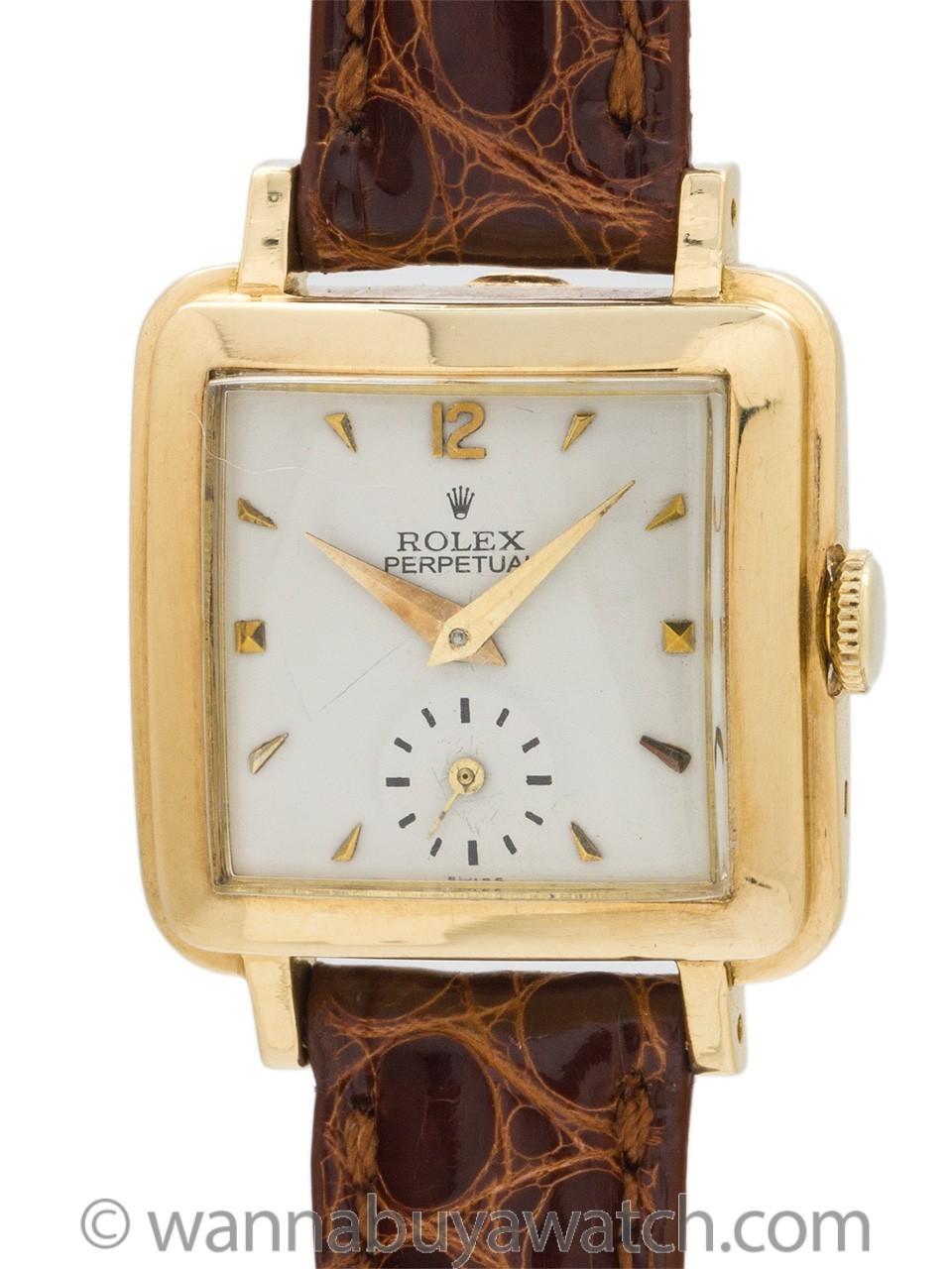 "Rolex Lady Square ""Bubbleback"" 18K YG circa 1950"
