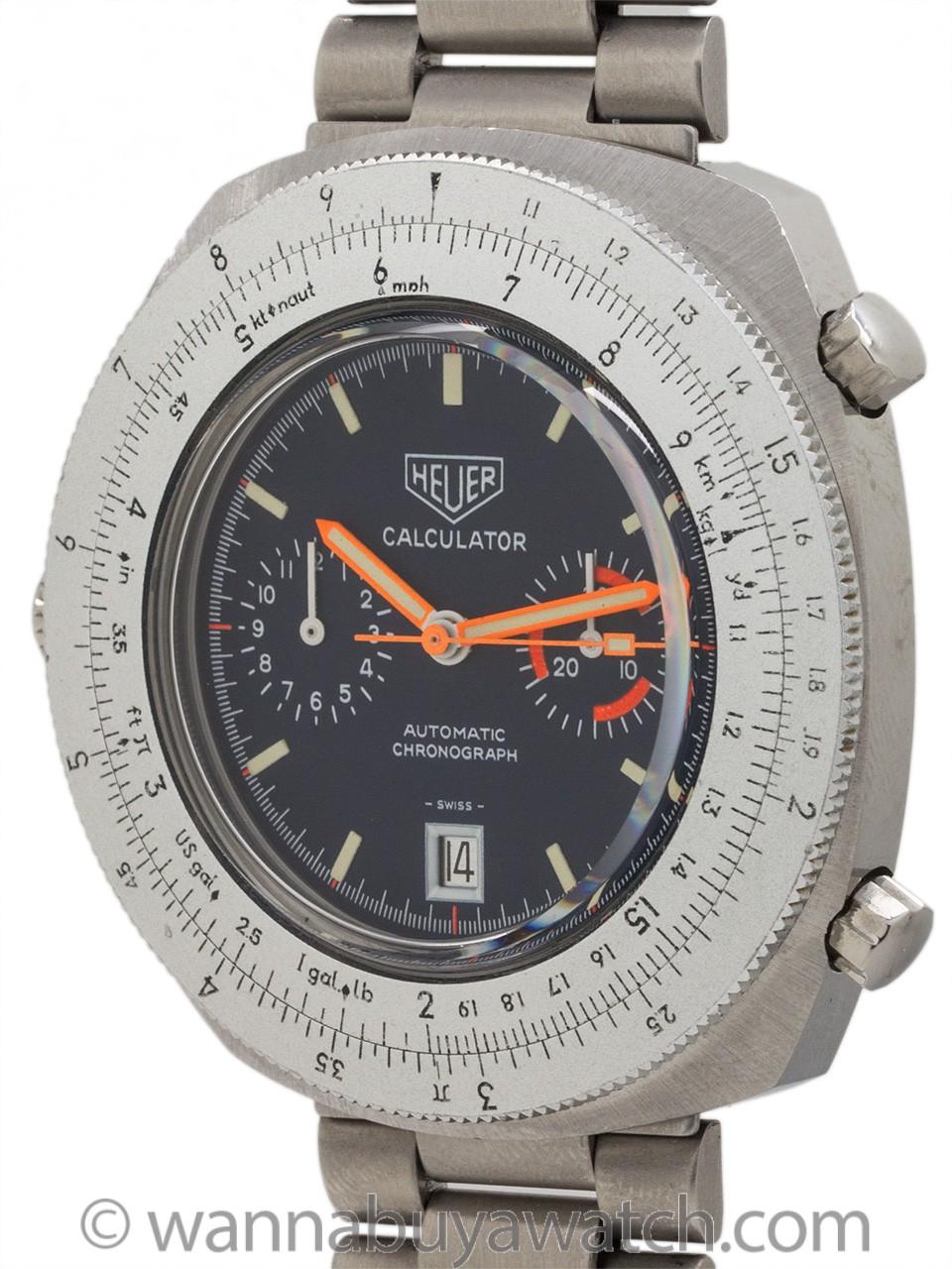 Heuer SS Calculator Chronograph circa 1977