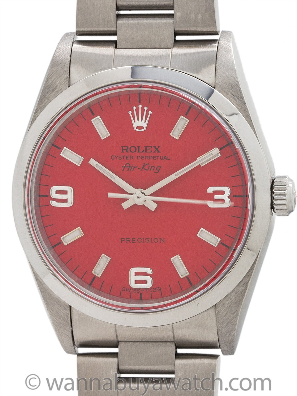 Rolex Airking ref 14000 Custom Red Explorer Dial circa 1998