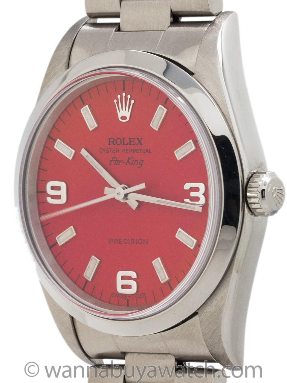 Rolex Airking ref 14000 Custom Red Explorer Dial circa 1998