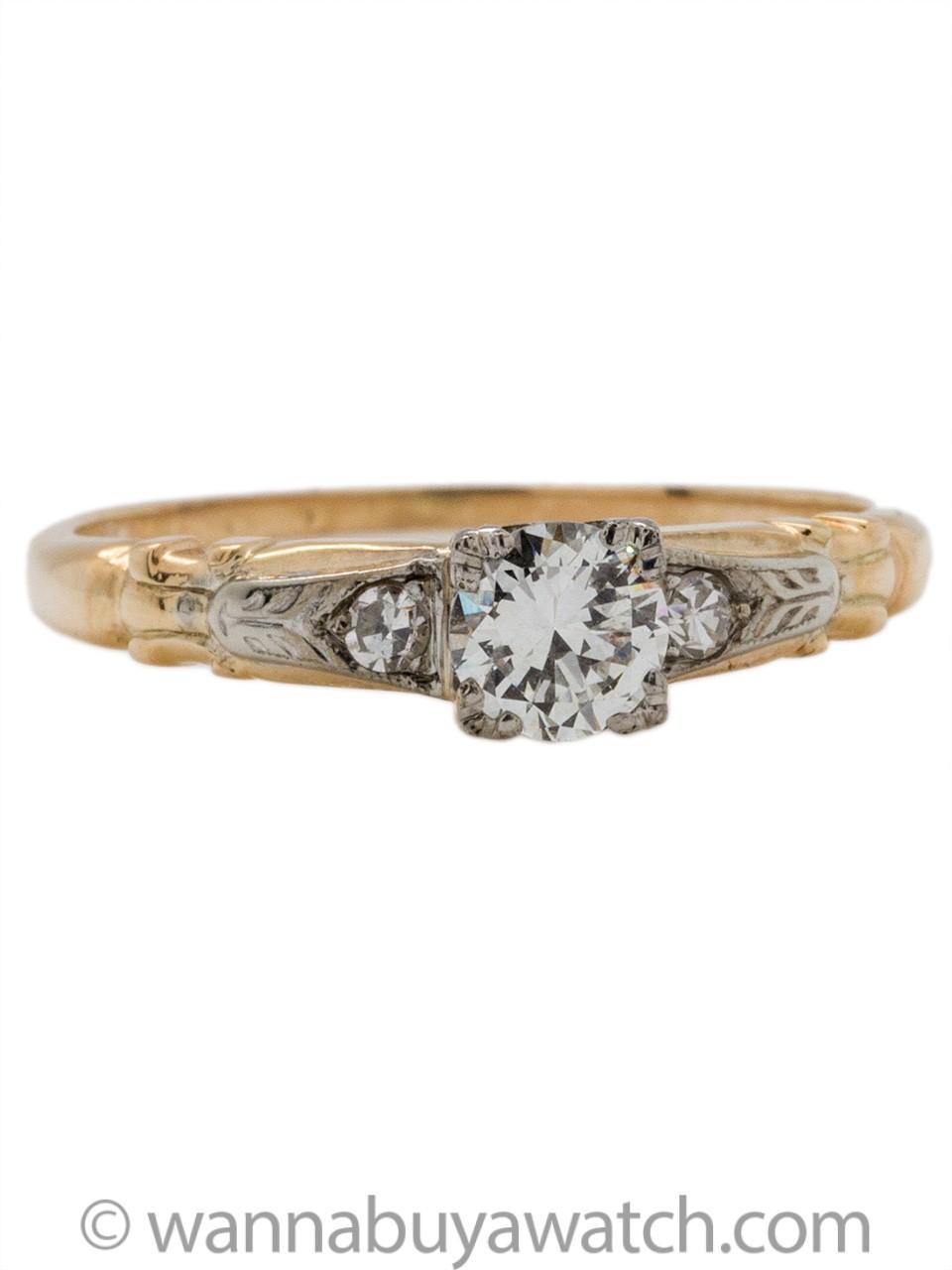 Vintage Diamond Engagement Ring 14K 0.30ct J-VS1 circa 1940s