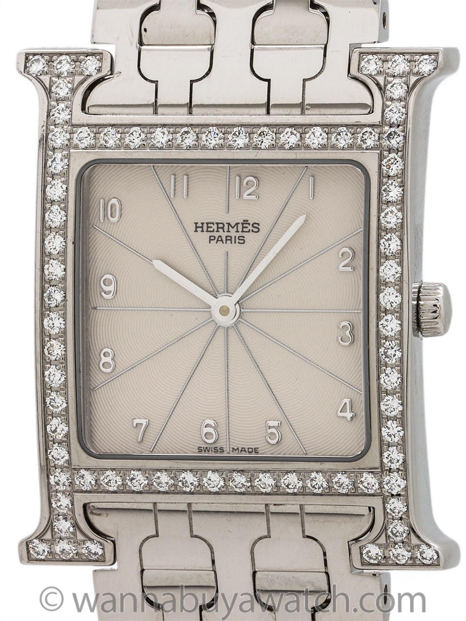 Hermes Stainless Steel Diamond Heure H ref. HH1.530
