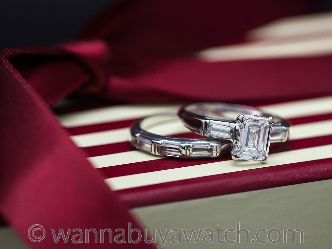 Vintage Platinum Emerald Cut Wedding Set 1.40 Carat F-VS2 circa 1940s