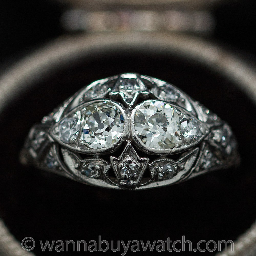 Platinum Diamond Pierced Ring circa 1910's
