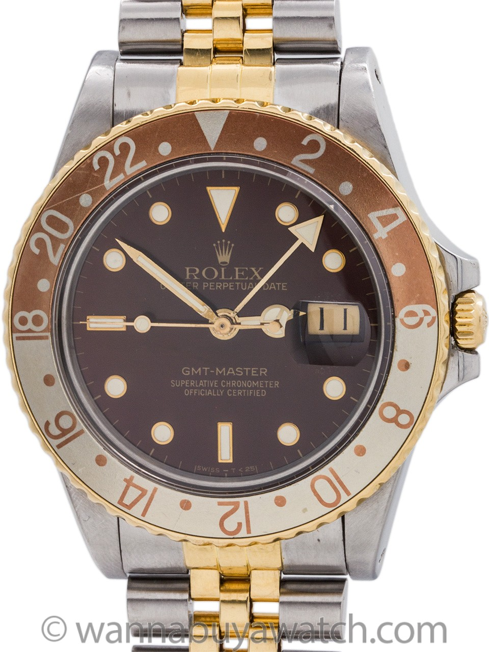 "Rolex 2 Tone ""Root Beer"" GMT ref 16753 SS/18K circa 1986"