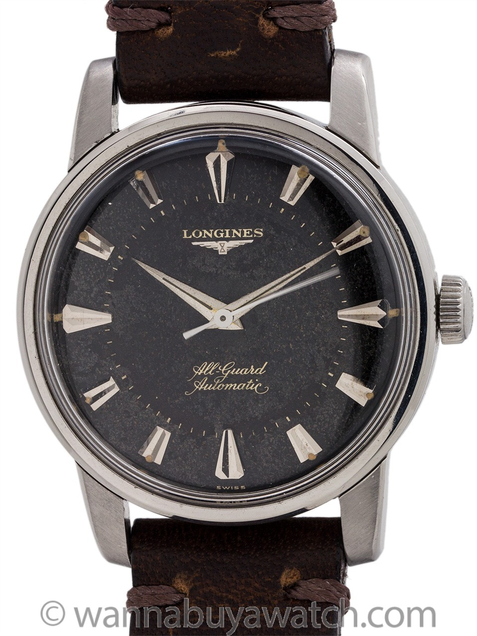 "Longines SS ""All Guard"" Gilt Tropical Dial circa 1950's"