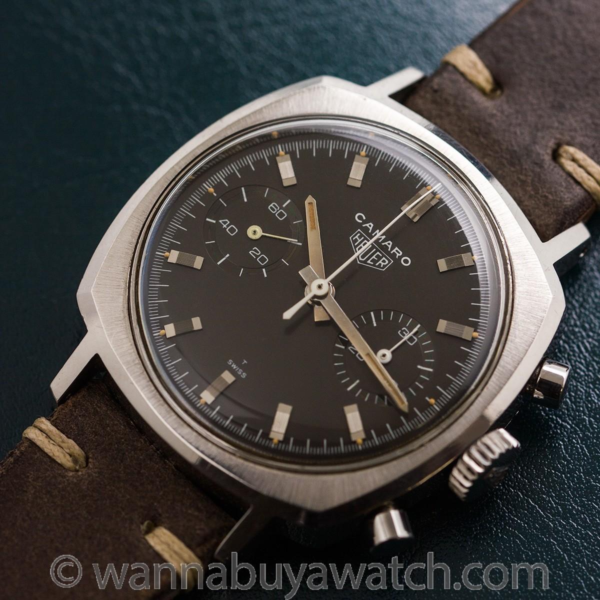 "Heuer Camaro Chronograph ref 7743 ""Charcoal"" Dial circa 1960's MINT!"