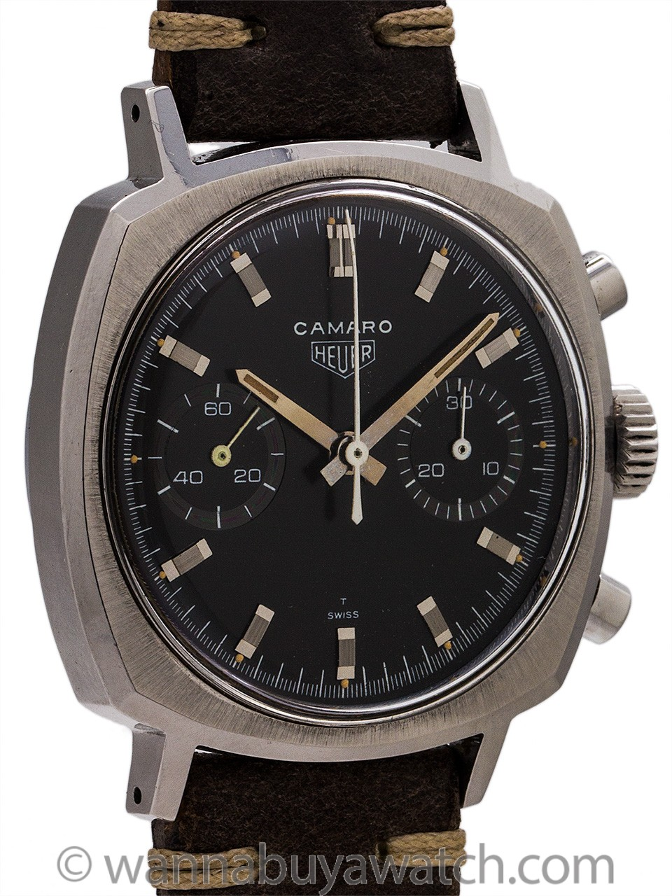 "Heuer Camaro Chronograph ref 7743 ""Charcoal"" Dial circa 1960's MINT!"