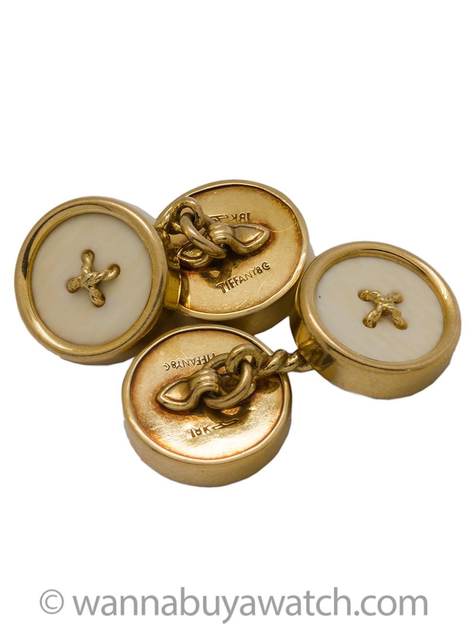 Tiffany & Co 18K YG Button Cufflinks circa 1950's